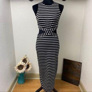 Long Maxi Cut-Out Dress - Black & White - LARGE